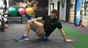 Max doing strengthening and flexibility exercises to reduce the risk of injuries skiing or boarding